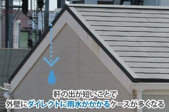 軒の出が短いことで外壁にダイレクトに雨水がかかるケースが多くなる