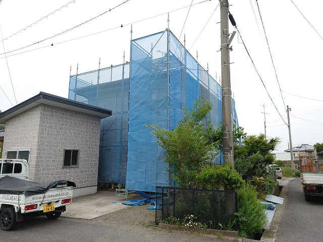 住宅リフォーム工事のビケ足場