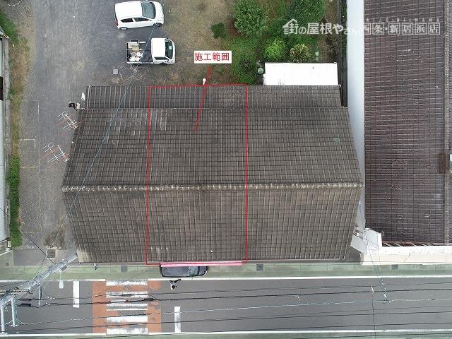 セメント瓦屋根の全体写真