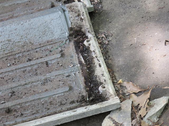 セメント瓦の重なり部分に溜まったゴミ