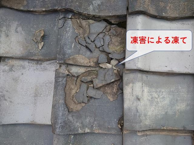 凍害による瓦の剥離