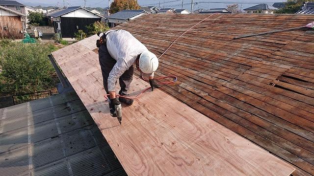 構造用合板を増し張り補強
