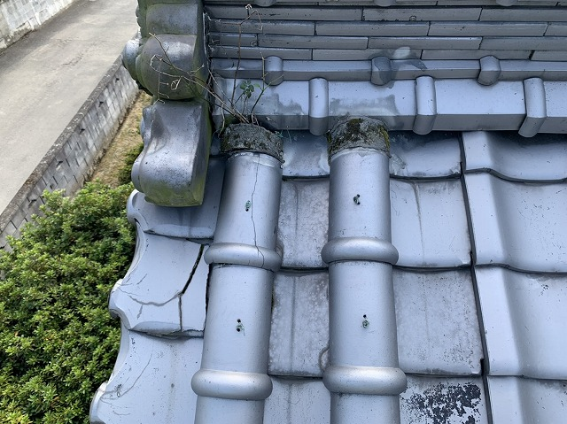凍害被害にあった瓦