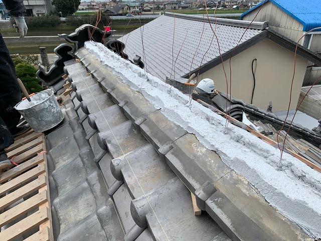 のし瓦の施工