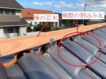 棟瓦の棟芯木