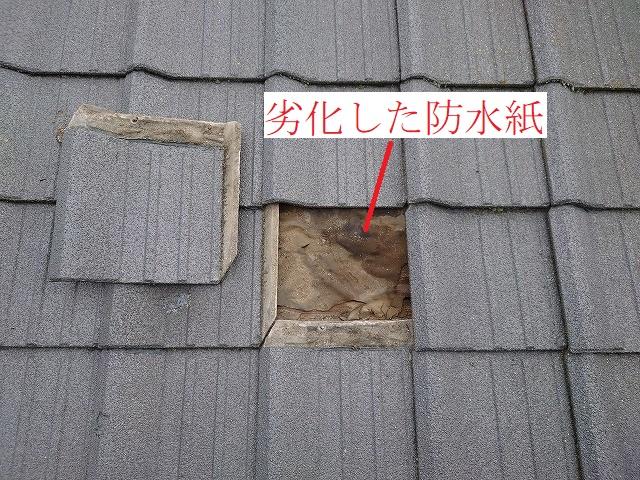 劣化した防水紙