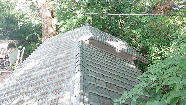 屋根掃除の終わったセメント瓦