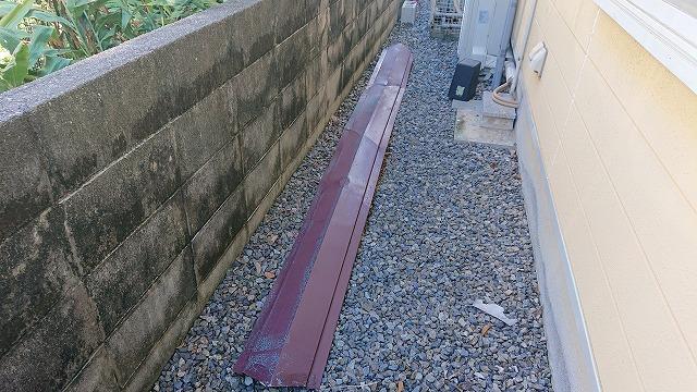 今治市唐子台で強風で被災した棟板金の飛んだ屋根を点検調査