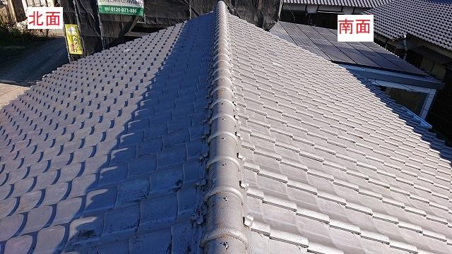 セメント瓦屋根北面と南面比較