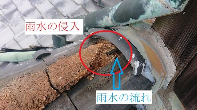 棟瓦からの雨漏り