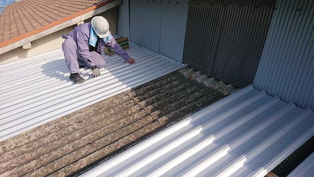 四国中央市三島で倉庫の波スレート屋根を板金で屋根カバー工事