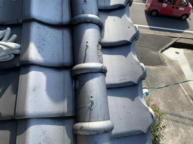 凍害被害のあった瓦