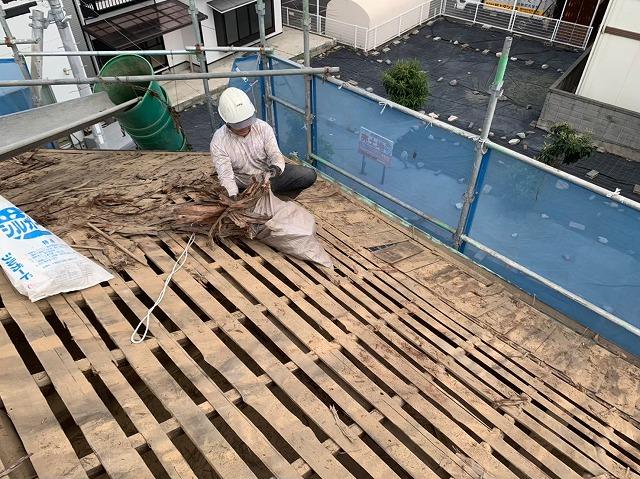 杉皮を掃除する様子